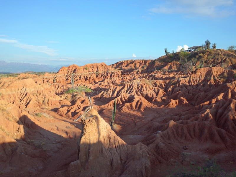 库斯科省火星的风景,红色沙漠,一部分的哥伦比亚` s Tatacoa沙漠 免版税库存图片