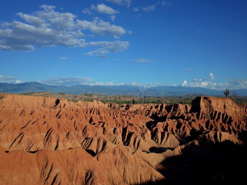 库斯科省火星的风景,红色沙漠,一部分的哥伦比亚` s Tatacoa沙漠 库存照片