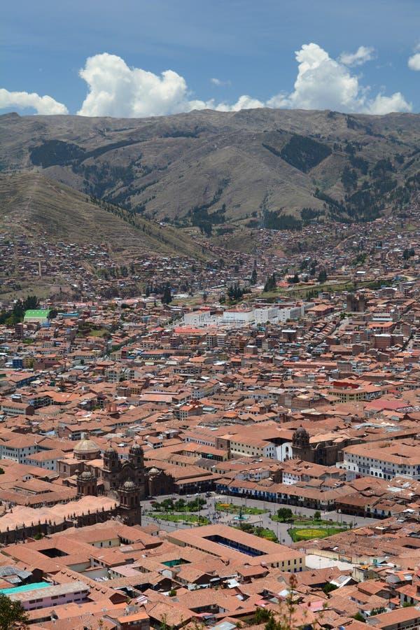 库斯科鸟瞰图  秘鲁 免版税库存图片