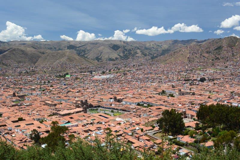 库斯科鸟瞰图  秘鲁 免版税库存照片