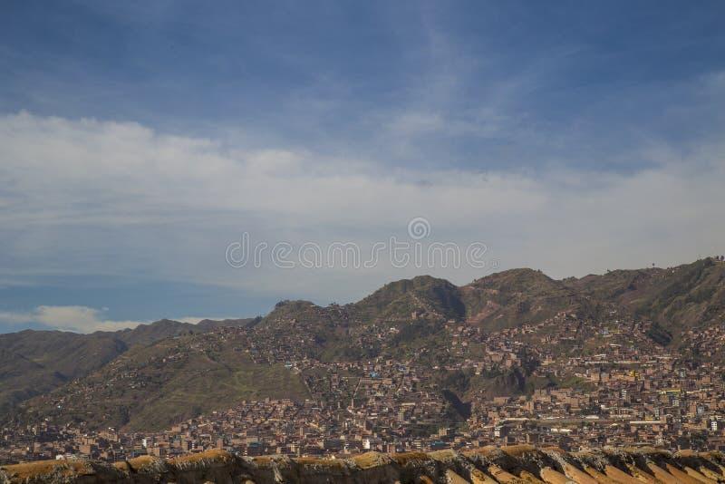 库斯科,秘鲁印加帝国的历史的首都 微明的阿马斯广场 免版税库存图片
