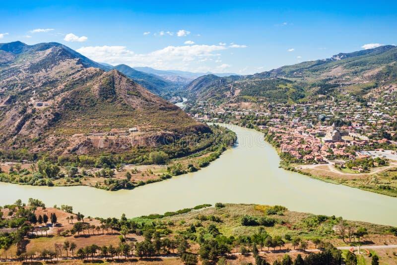 库纳河和Aragvi 库存照片