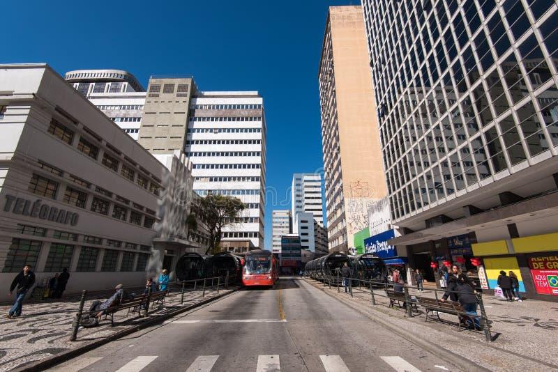 库里奇巴市街道和大厦  免版税库存照片