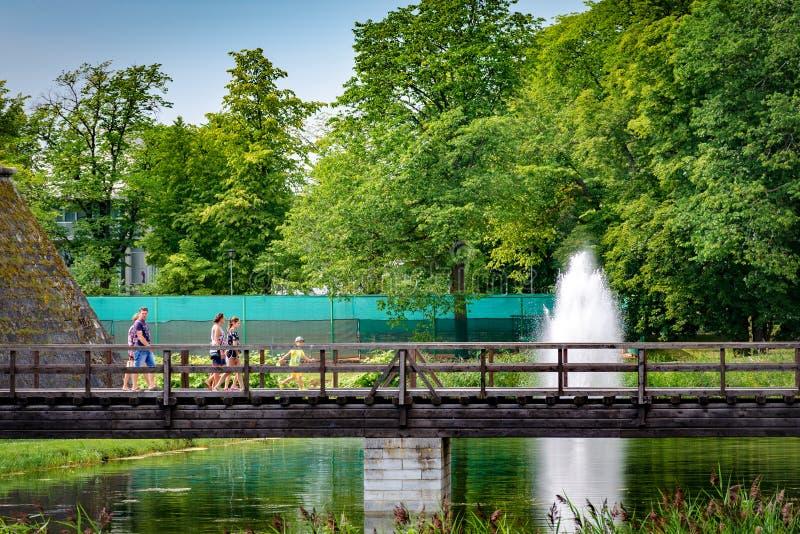 库雷萨雷,爱沙尼亚, 2018年, 14 7月:库雷萨雷城堡护城河、喷泉和桥梁 走在桥梁的人们 免版税库存图片