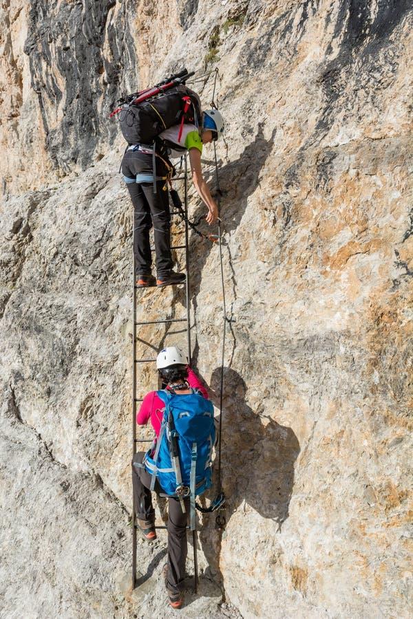应付垂直的墙壁的登山人登高的金属梯子 免版税库存照片