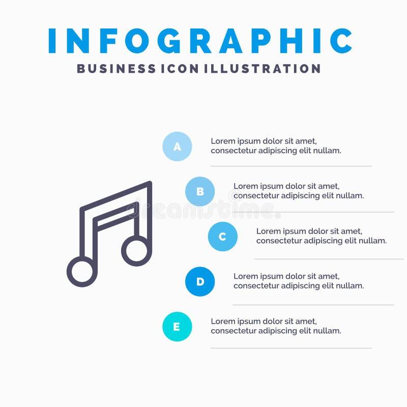 应用、基本、设计、移动、音乐系列图标,包含5步演示信息图形背景 库存例证