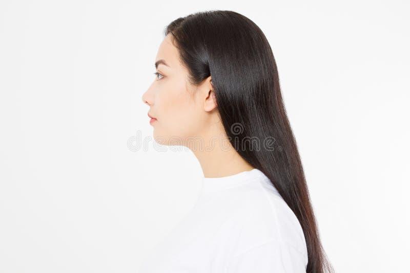 应用关心皮肤透明油漆 深色的亚裔女孩外形画象有长和发光的平直的女性头发的在白色背景 复制 免版税图库摄影