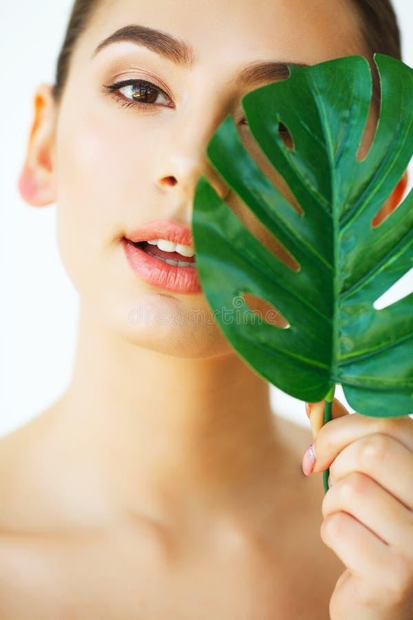 应用关心皮肤透明油漆 美好的表面绿色半叶子阴影妇女 是 库存照片