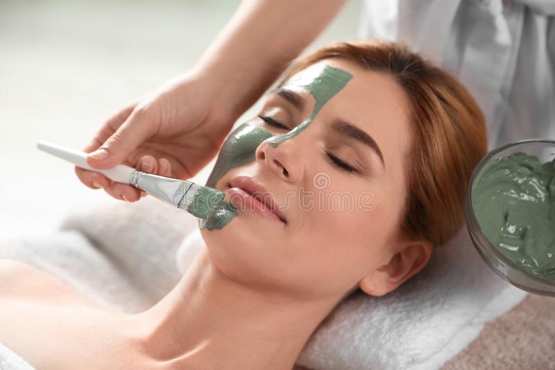 应用在妇女的面孔上的美容师面具 免版税库存图片