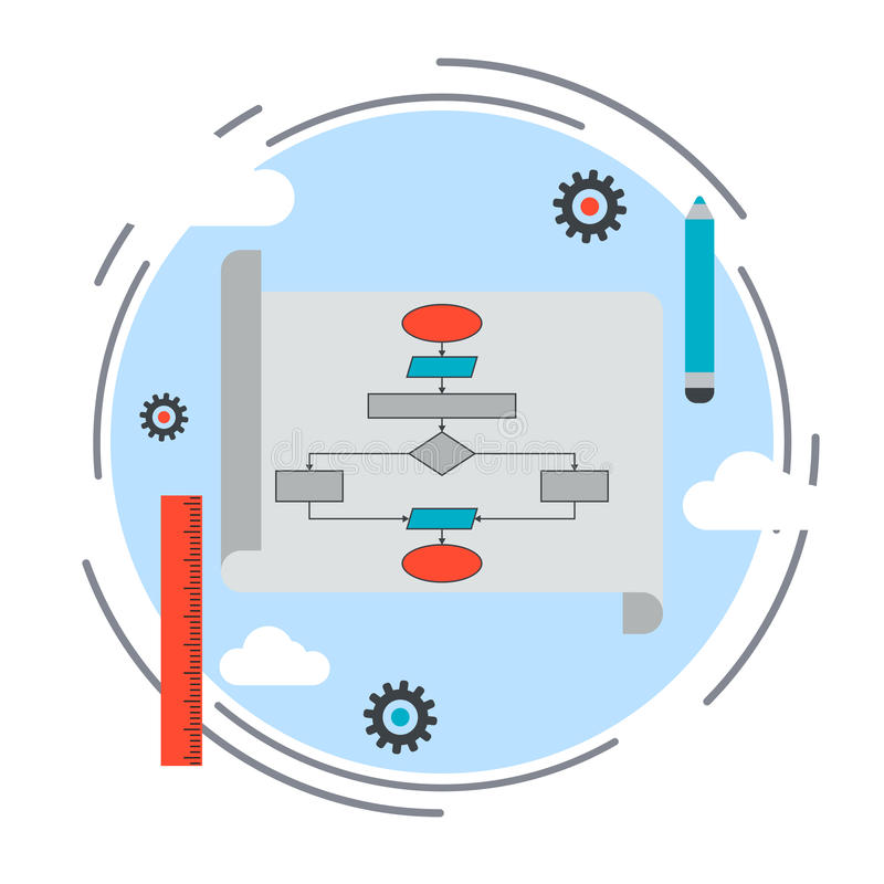 应用开发,编码的节目, SEO处理传染媒介概念 皇族释放例证