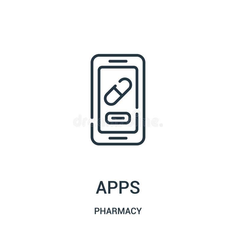 应用程序从药房汇集的象传染媒介 稀薄的线应用程序概述象传染媒介例证 向量例证