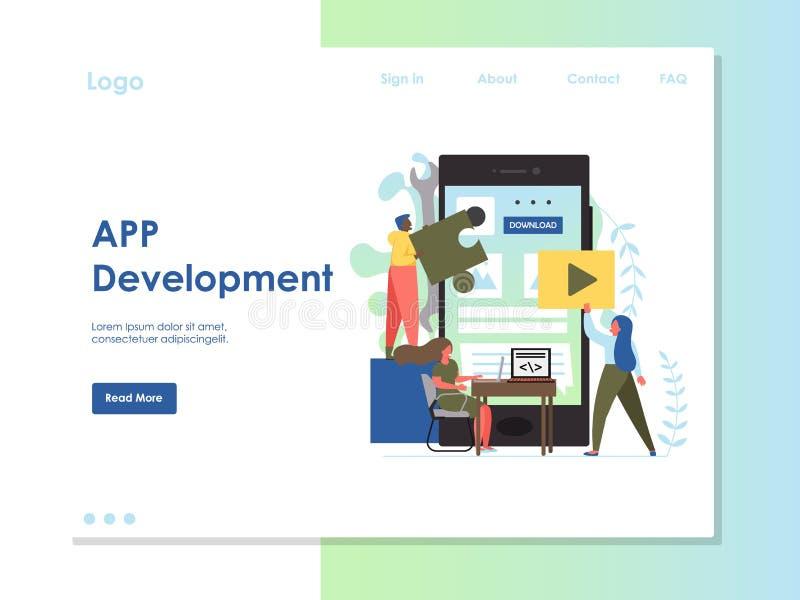应用程序发展传染媒介网站登陆的页设计模板 向量例证