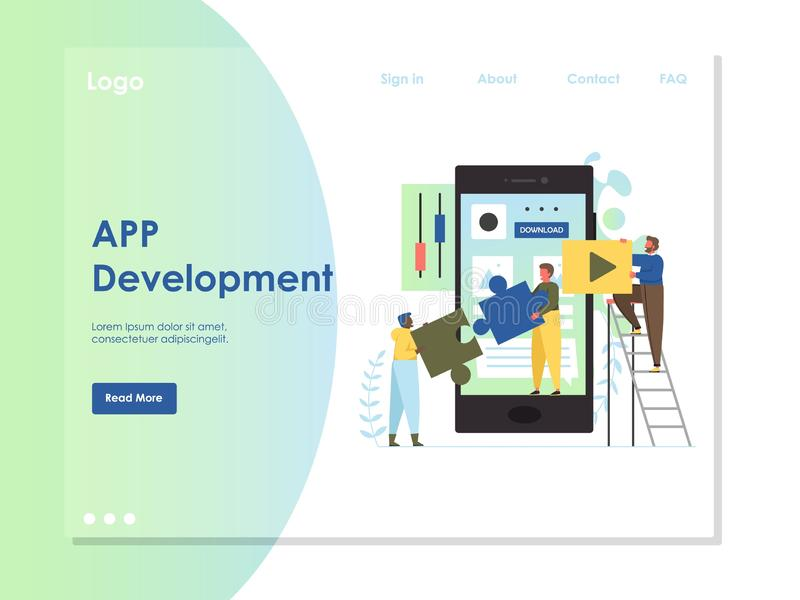 应用程序发展传染媒介网站登陆的页设计模板 皇族释放例证