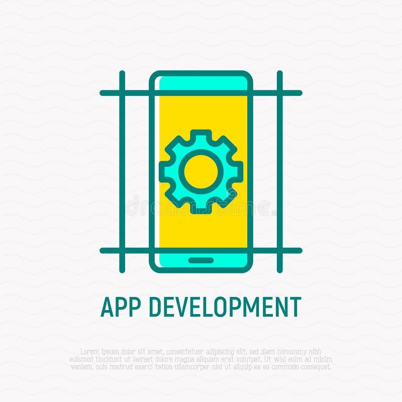应用程序发展稀薄的线象:在智能手机屏幕上的轮子 r 库存例证