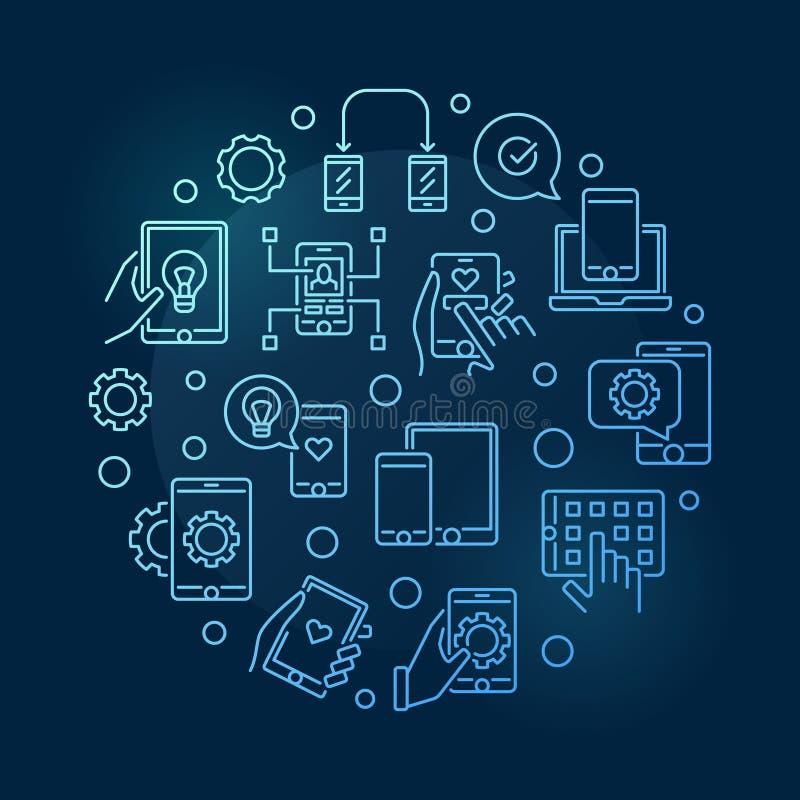 应用程序和应用程序发展传染媒介围绕蓝线例证 库存例证