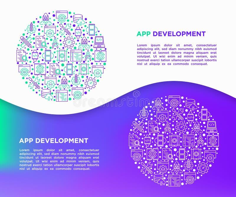 应用程序在圈子的发展概念与稀薄的线象:写代码,多任务,巧妙的手表应用程序,工程学,更新,云彩 库存例证