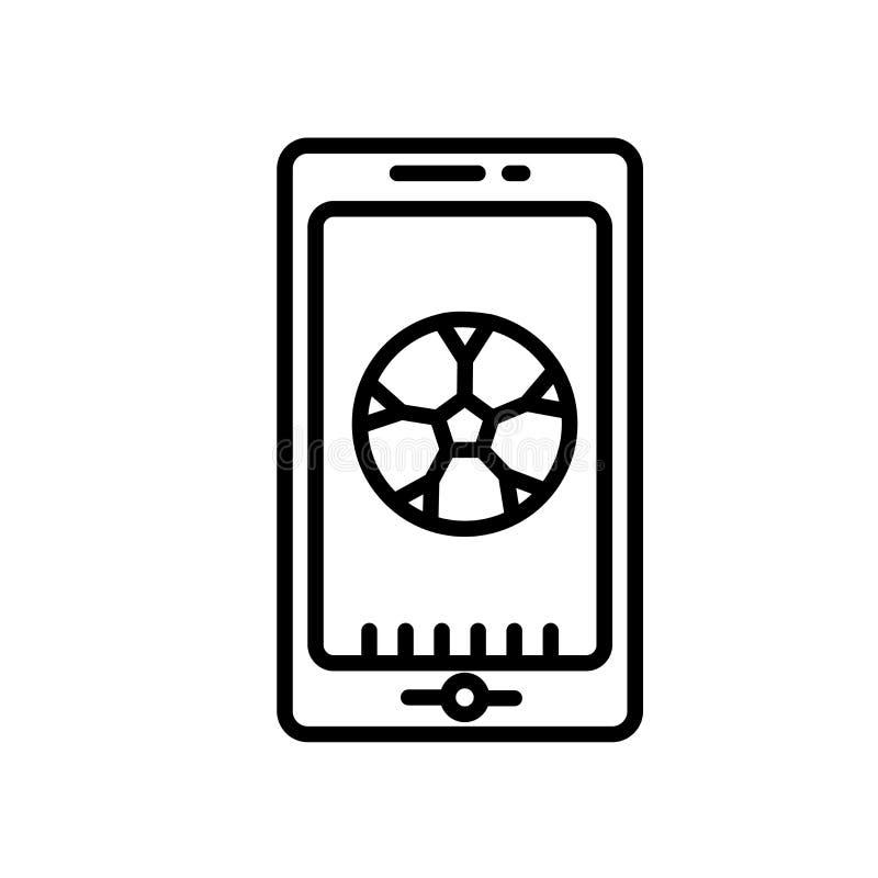 应用程序在白色背景、应用程序标志、线或者线性标志隔绝的象传染媒介,在概述样式的元素设计 库存例证
