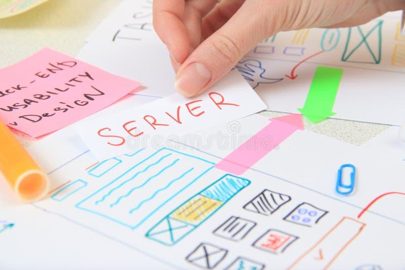 应用程序设计师创造现代软件智能手机的设计规划 库存照片