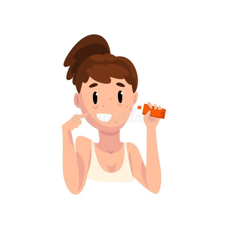 应用粉刺奶油、女性面孔与皮肤问题,皮肤学和整容术概念传染媒介例证在a的女孩 库存例证