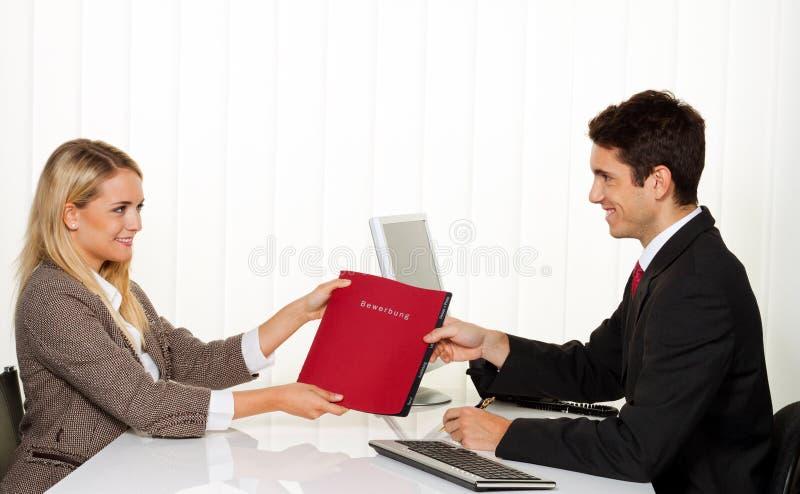 应用聘用的面试性能 库存照片