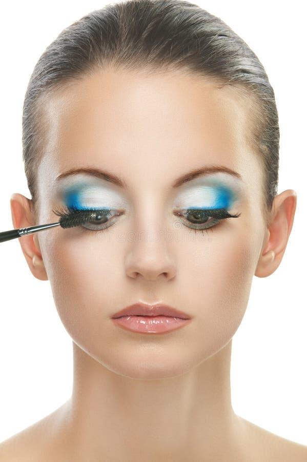 应用胭脂眼皮的妇女 图库摄影
