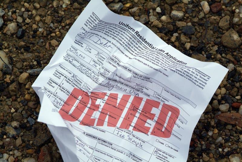 应用被拒绝的房子贷款 免版税库存图片