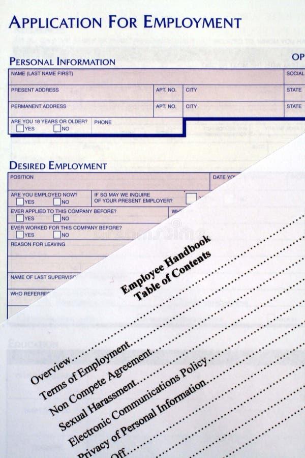 应用雇员雇佣手册 免版税库存照片