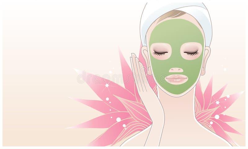 应用面部屏蔽的美丽的温泉妇女 库存例证