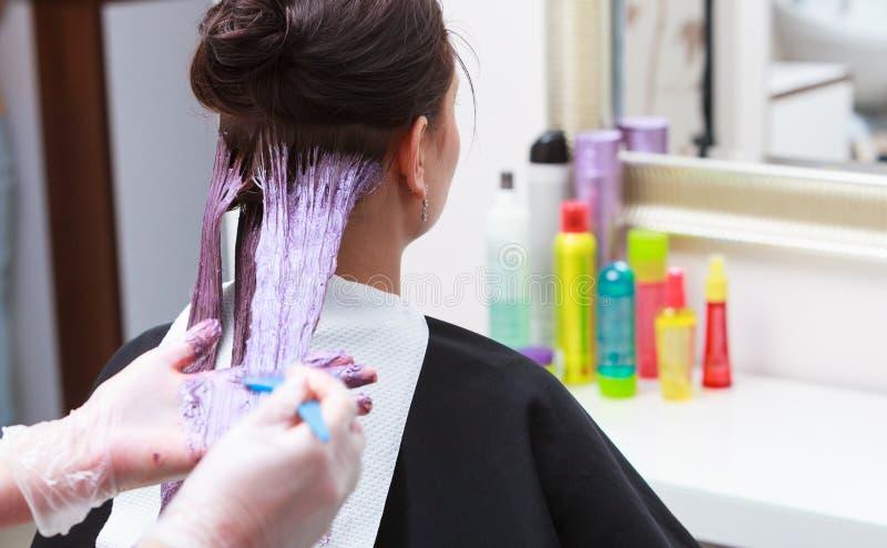 应用颜色女性顾客的美发师在沙龙,做染发剂 免版税库存照片