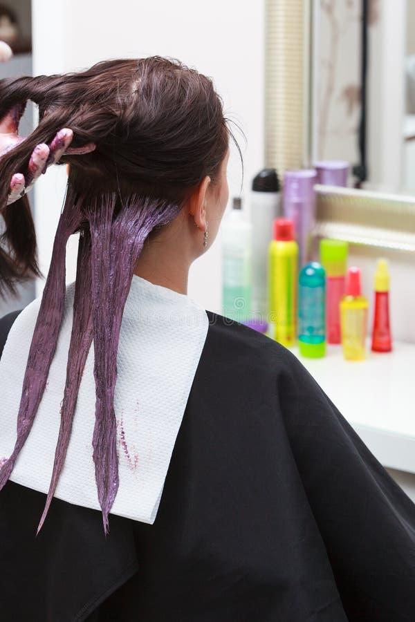 应用颜色女性顾客的美发师在沙龙,做染发剂 库存图片