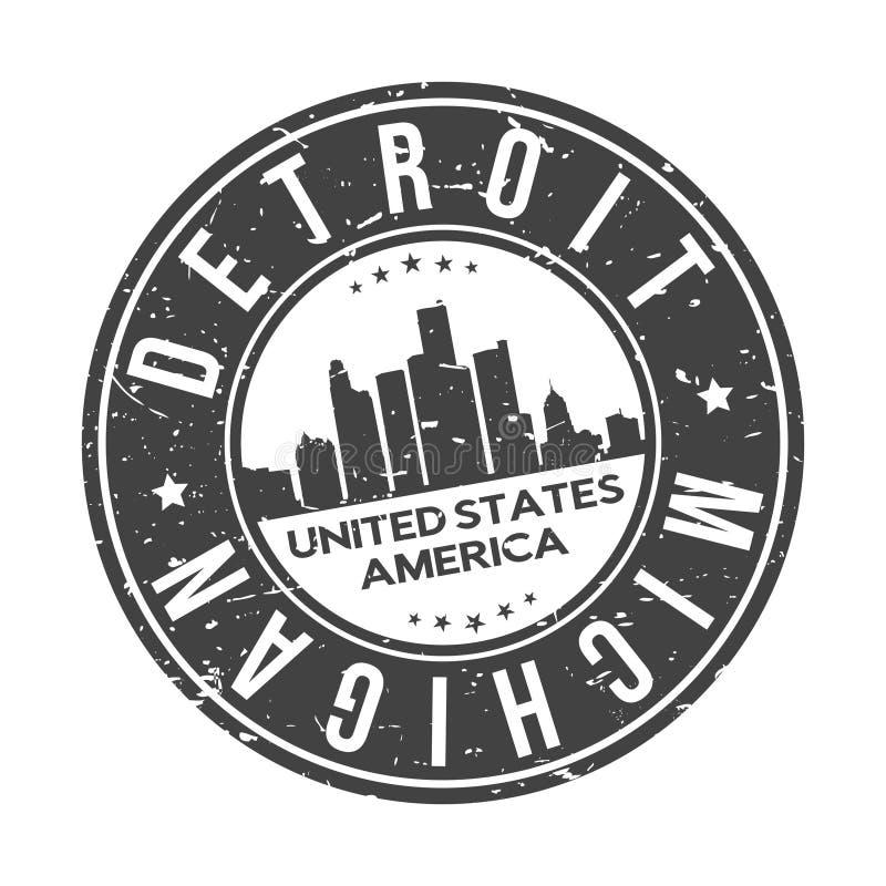底特律围绕按钮城市地平线设计邮票传染媒介旅行旅游业的密执安美国 向量例证
