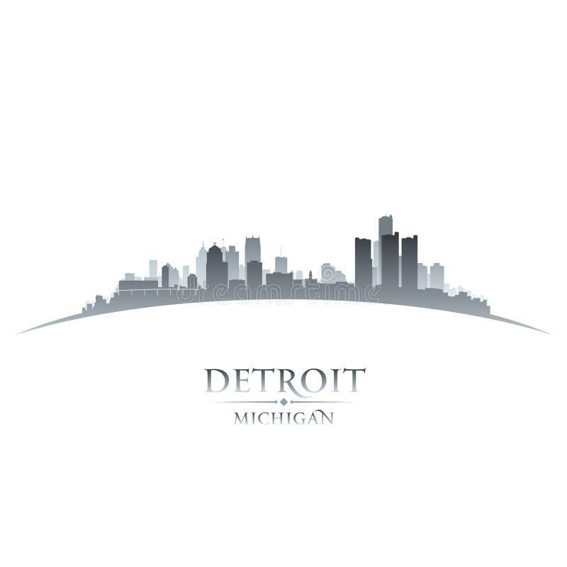 底特律密执安市地平线剪影白色背景 皇族释放例证