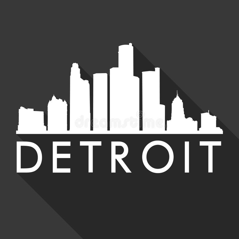 底特律密执安美利坚合众国美国象传染媒介艺术平的阴影设计地平线城市剪影模板黑色 向量例证