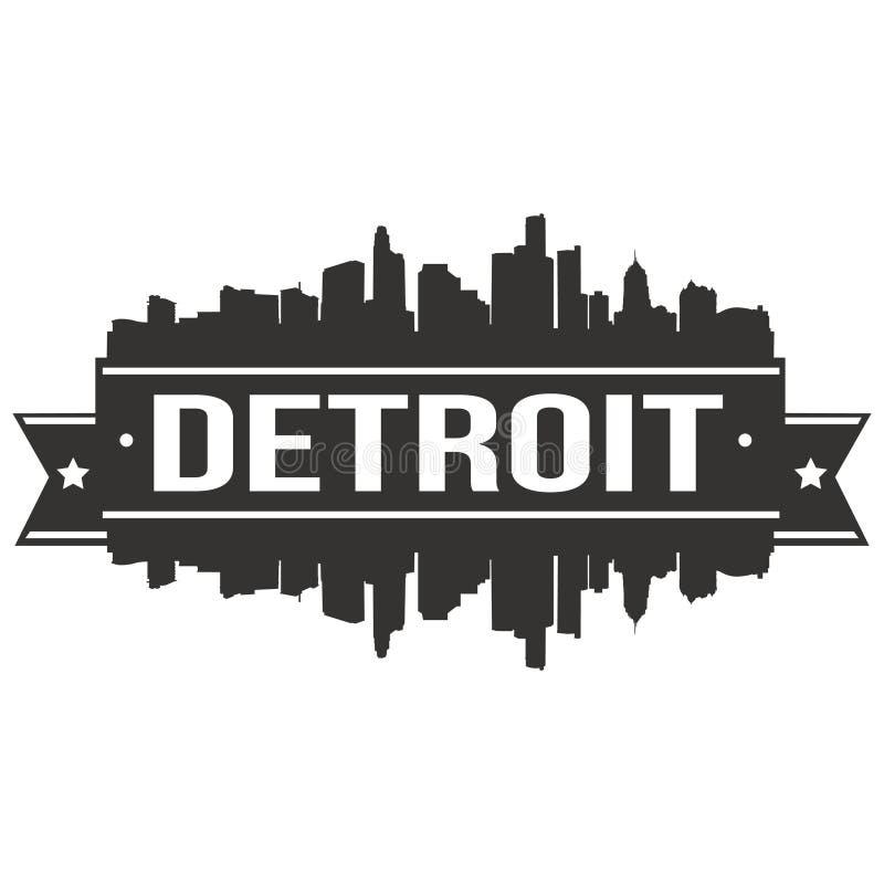 底特律密执安美利坚合众国美国象传染媒介艺术设计地平线平的城市剪影编辑可能的模板 皇族释放例证