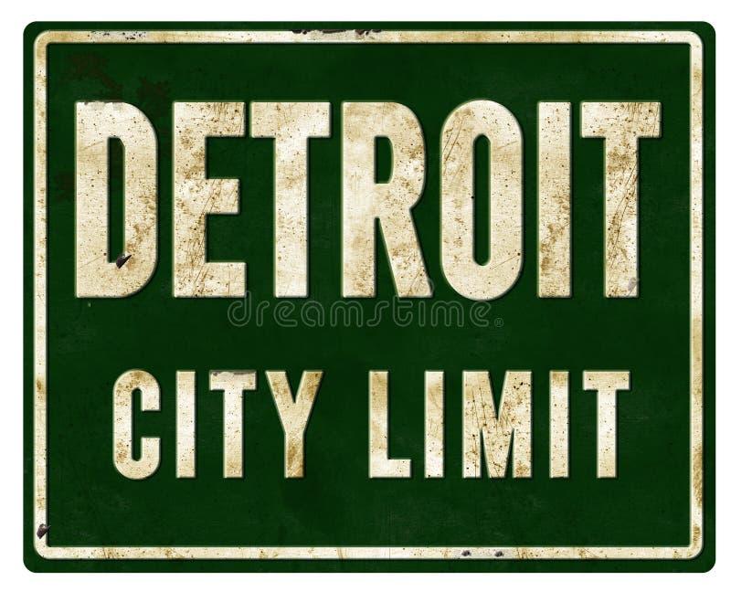 底特律市区范围标志金属 免版税库存图片