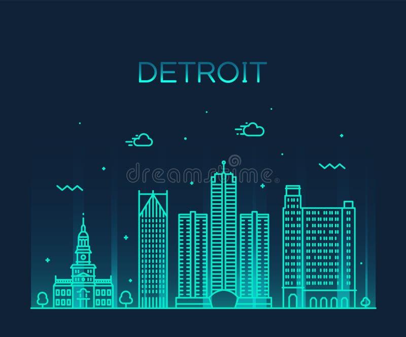 底特律市地平线密执安美国导航线城市 皇族释放例证
