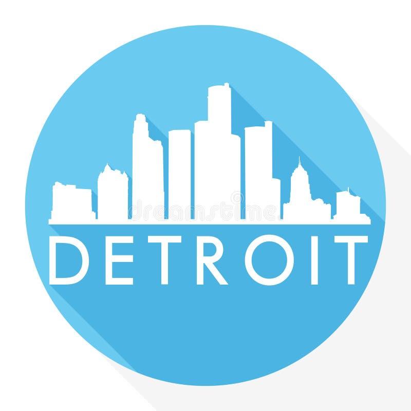 底特律市密执安美利坚合众国美国圆的象传染媒介艺术平的阴影设计地平线城市剪影模板商标 皇族释放例证