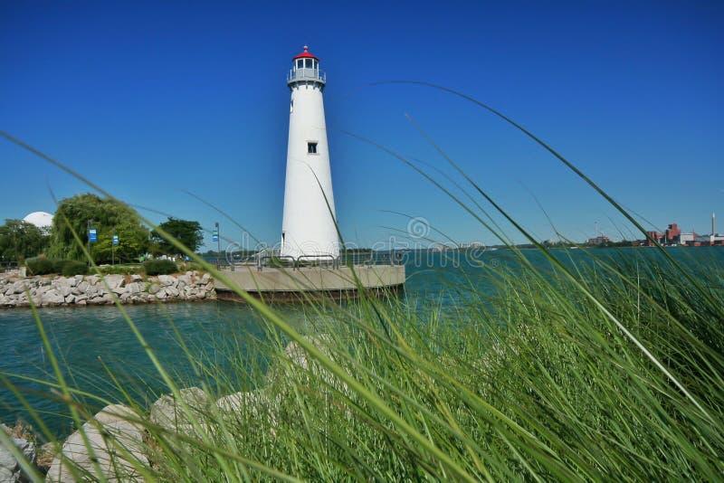 底特律米利肯国家公园灯塔 免版税库存照片