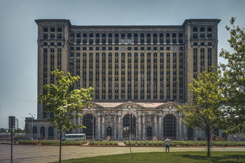 底特律,密执安,美国- 2018年10月:老密执安中央驻地大厦的看法在底特律  免版税库存图片