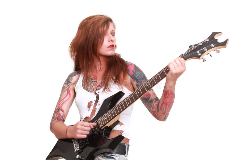 庞克摇滚乐吉他弹奏者女孩 图库摄影