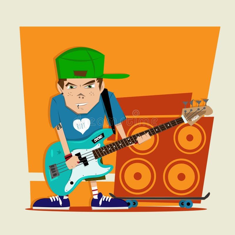 庞克摇滚乐男孩低音演奏员 皇族释放例证