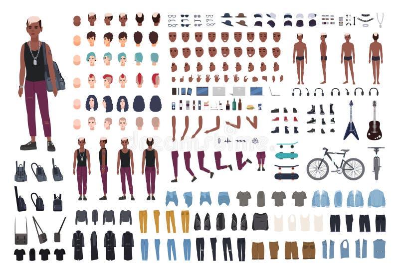 庞克音乐的表演者DIY或动画成套工具 捆绑幼小男性角色或青少年的身体元素,姿势,成套装备,反传统文化 向量例证