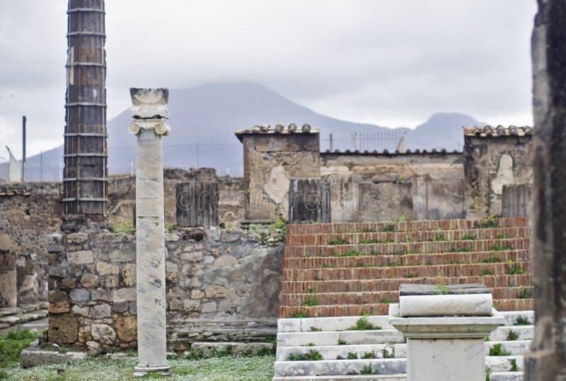 庞贝城废墟关闭  免版税库存照片