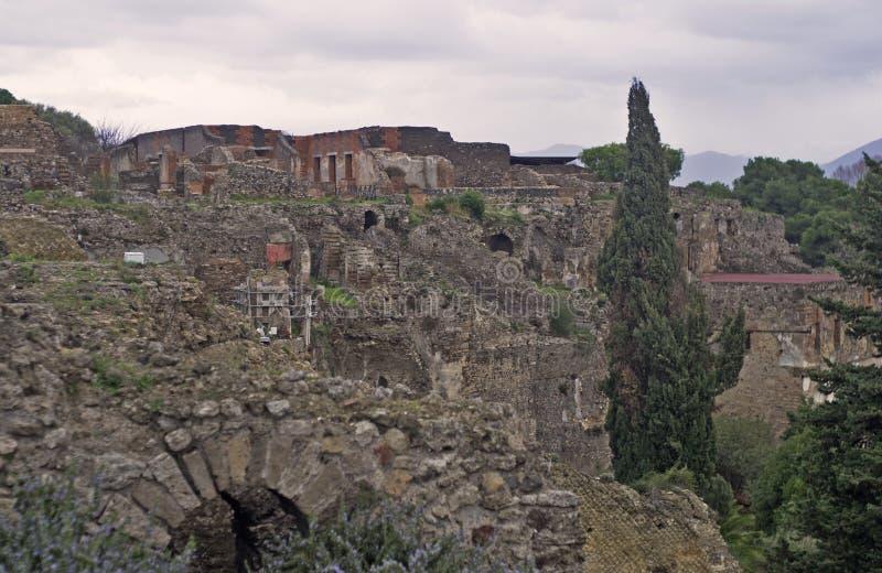 庞贝城废墟在晚上 库存图片