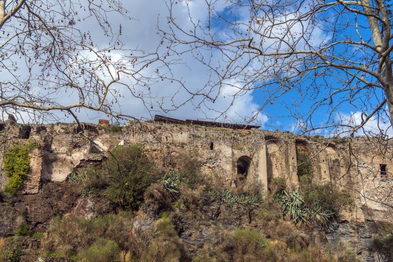 庞贝城考古学废墟在褶皱藻属地区在意大利,欧元 免版税库存图片