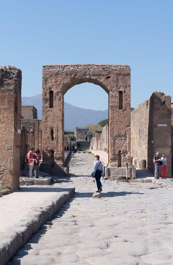 庞贝城考古学站点,意大利 免版税库存照片