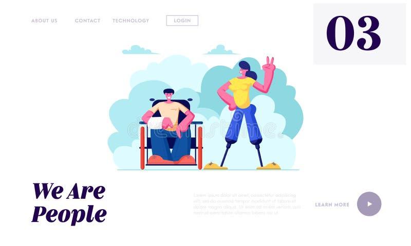 废人用在轮椅和妇女的断手有腿假肢走的户外的,刺激,友谊,爱 库存例证