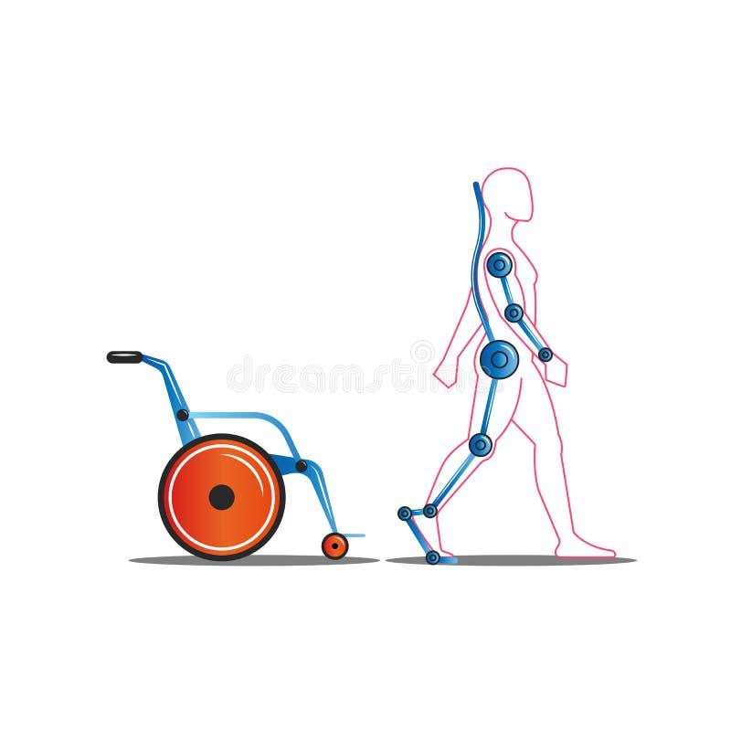 废人离开轮椅使用外骨骼概念传染媒介例证,人的医疗伺服技术 向量例证