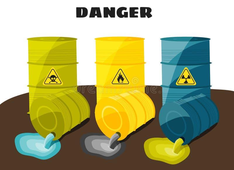 废品从与标志的桶流动的危险 向量 向量例证