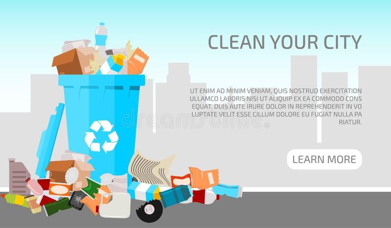 废城市概念横幅传染媒介例证 乱丢在蓝色附近不适当地被配置了的废物 库存例证
